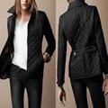 2016 de Moda de Nova Mulheres Jaqueta de Inverno e casaco para baixo Outono Casaco Fino Outerwear Estilo Britânico Xadrez Quilting Acolchoado Parkas Marca