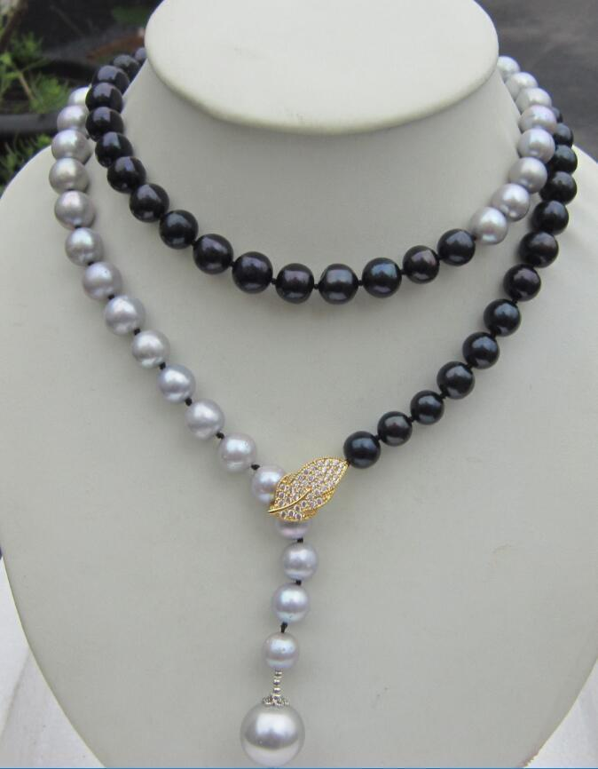 Adjustable 10 11 MM real south sea grey black pearl necklace pendant 33''>Selling jewerly free shipping
