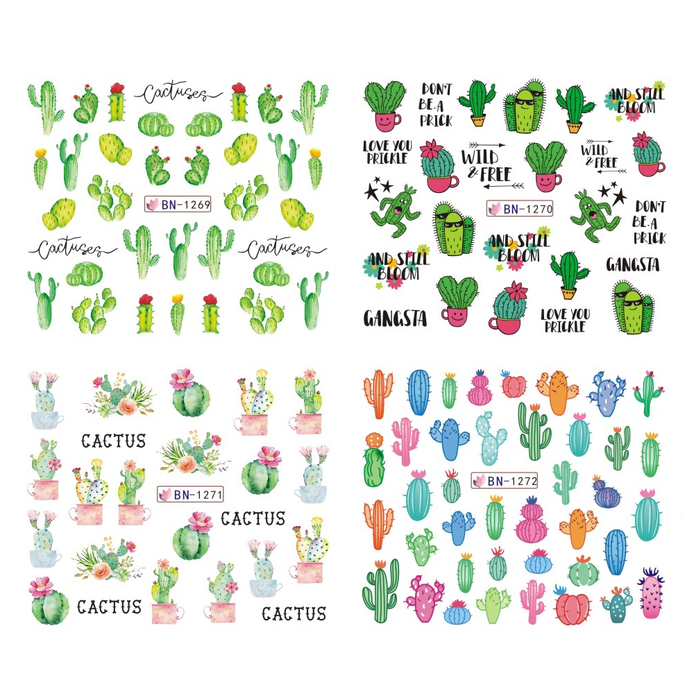 12 Designs Summer Nail Water Transfer Stickers Cactus Flamingo Heart Leaf Tattoo Decals Nail Art Decoration Slider 2