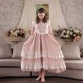 Mulheres Dormindo Vestido Estilo Retro Vintage Camisolas Camisola De Algodão Feminino Camisola Doce Princesa Palácio Início Vestido Roupas