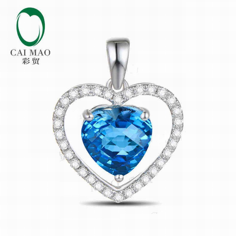 14K/585 White Gold 1.63 ct Natural IF Blue Topaz & 0.23 ct Round Cut Diamond Engagement Gemstone Pendant Jewelry No Chain