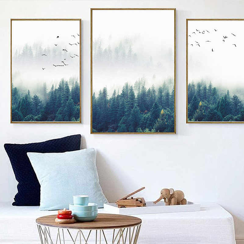 Decorative Picture 1PC Wall Art Nordic No Frame Home Decoration Poster Wall Picture Forest Lanscape Canvas Painting