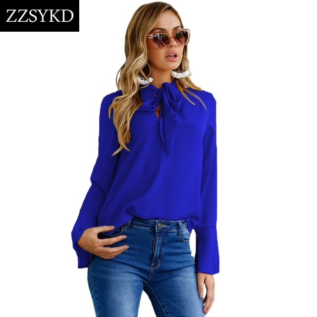 0bd4270219333 ZZSYKD Women Chiffon Blouses Summer Long Flare Sleeve Shirt Casual Loose  Tops 2018 Fashion Formal Blouses