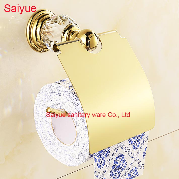 2016 Hot Sale Simple Luxury Gold With Diamond Toilet Lavatory WC Paper Holder Roll Tissue porte-papier Bathroom accessories