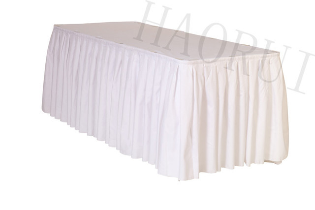 21ft X29 White 5pcs Polyester DIY Table Skirt For Outdoor Wedding Party Dining Setting