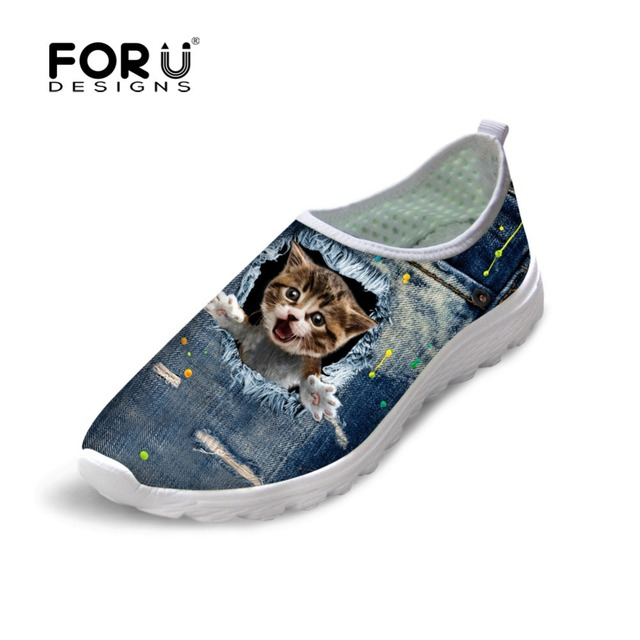 FORUDESIGNS Women Casual Mesh Shoes Cute Pet Denim Cat Pattern Ladies Mesh Shoes Summer Girls Slip-on Outdoor Shoe Flats Zapatos