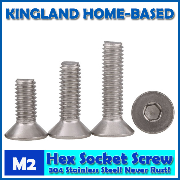 M2 DIN7991 Hexagon Hex Socket Countersunk Flat Head Cap Screws 304 Stainless Steel DIY Home Maintain Matel Working m4 din7991 hexagon hex socket countersunk flat head cap screws 304 stainless steel diy home maintain matel working