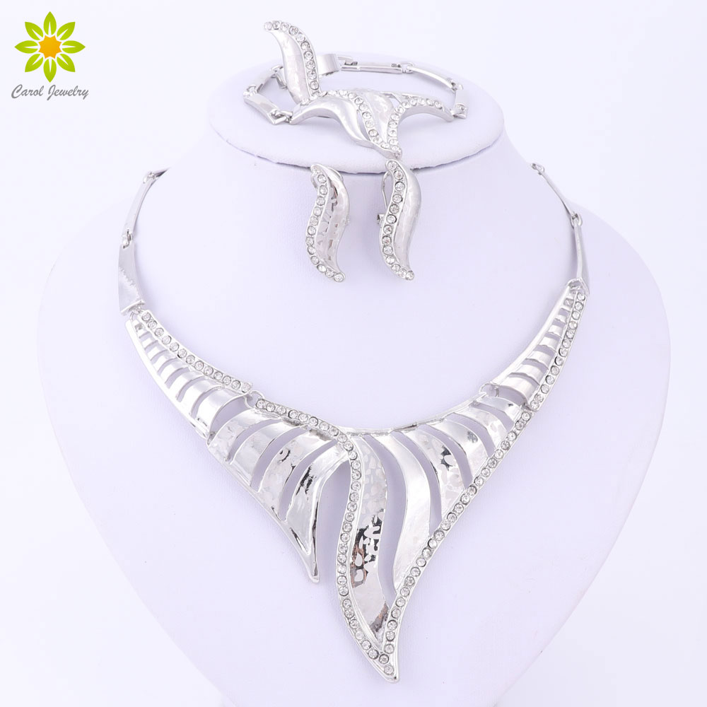 Classic Charming Rhinestone Women Necklace Earrings Set African Dubai  Nigeria Bridal Costume Silver Plated Jewelry Sets