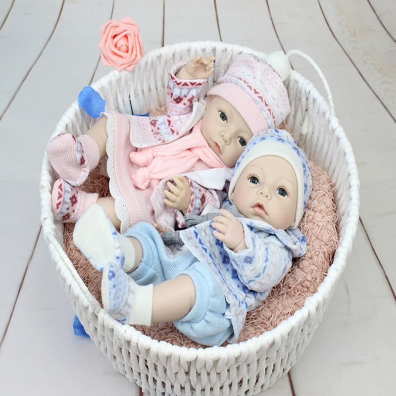 ФОТО 2016 New Twin 16 Inch Silicone Reborn Baby Doll Kids Playmate Gift For Girls Baby Alive Soft Toys For Bouquets Doll Reborn