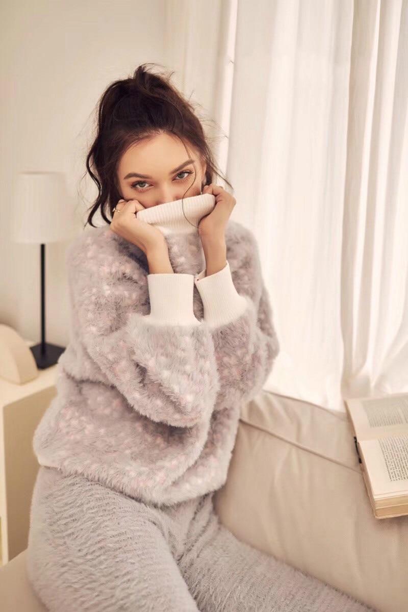 Pyjamas Women Limited Sale Unicorn Pajamas Womens Suit 2018 New Imitation Design Soft Thick High Collar Two piece Female Winter