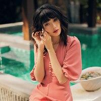 VERRAGEE women summer dress Long pink Dress a line formal elegant maxi vintage dress