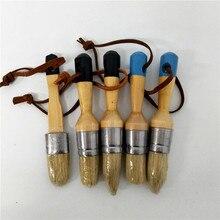 5 шт деревянная ручка Мел Краска ручной инструмент набор остроконечная кисть щетина Мел масляная краска восковая кисть товары для рукоделия