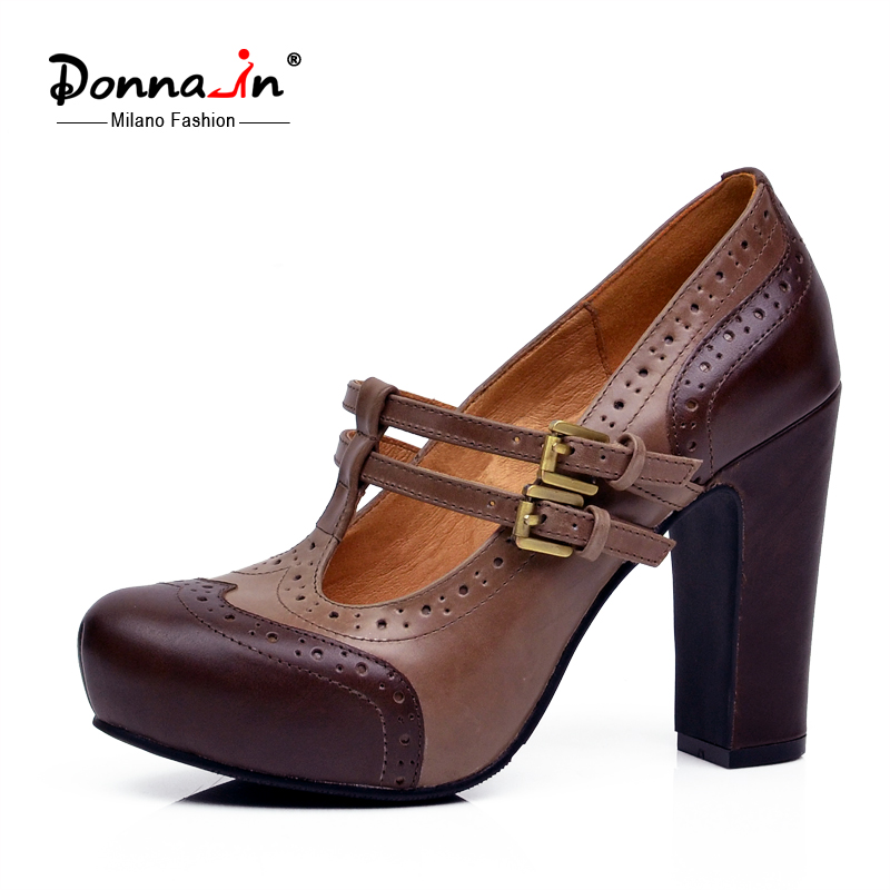 Donna in 2017 new spring pumps platform high heel women shoes cow leather ladies shoes retro
