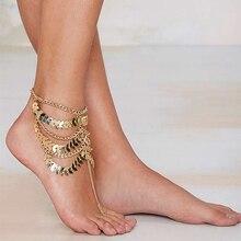 Hot Women Ladies Tassel Ankle Bracelet Multi layer Anklet Golden Leaves Chain Toe Barefoot Bracelets 5SGA
