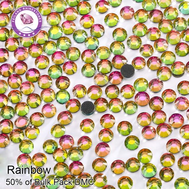 DMC SS6-SS30 Rainbow Color Crystal Hotfix Rhinestones For Garment DIY Dresses Decoration Wholesale Rhinestone Stones
