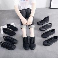 Женские кроссовки, большие размеры 35-43, парусиновая обувь на шнуровке, черная повседневная обувь, дышащие кроссовки, мужская обувь, женская ...