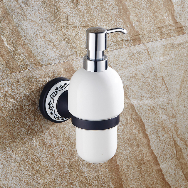 bathroom soap dispensers wall mounted. Liquid Soap Dispensers Wall Mounted Dispenser Brass Base With Black Finish Ceramic Container Bathroom Accessories N