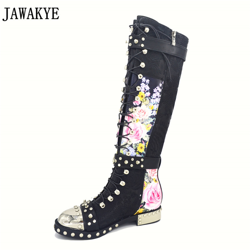 JAWAKYE Rivets studded long boots leather embroidery printed flowers Motorcycle Boots cross tied buckled strap bota feminina