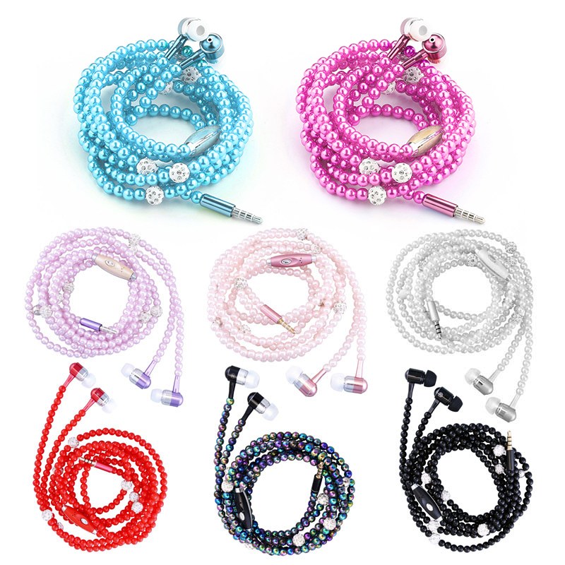 Pink Girl Rhinestone Jewelry Pearl Necklace Earphones With Microphone Earbuds For Iphone Xiaomi Brithday Gift Fone De Ouvido