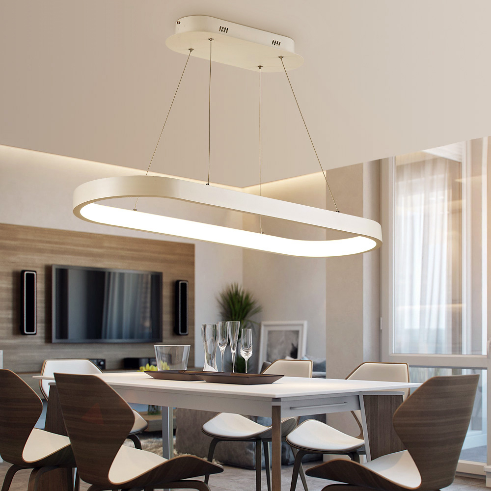 White Oval Shape 1200mm Length Modern Led Pendant Lights