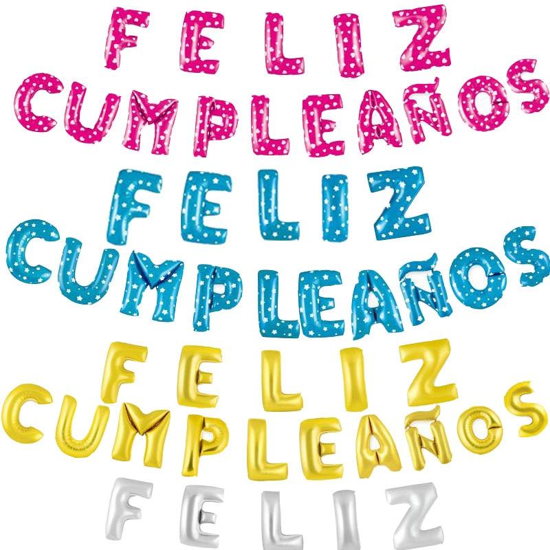 Spanish Letters Happy Birthday Party Supplies Balls Feliz