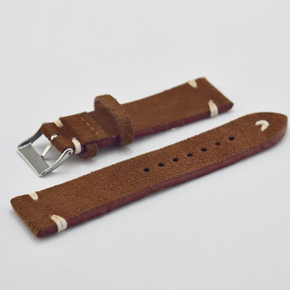 Handmade brown white velvet leather strap comfort 18mm unisex high quality 2018 new #C