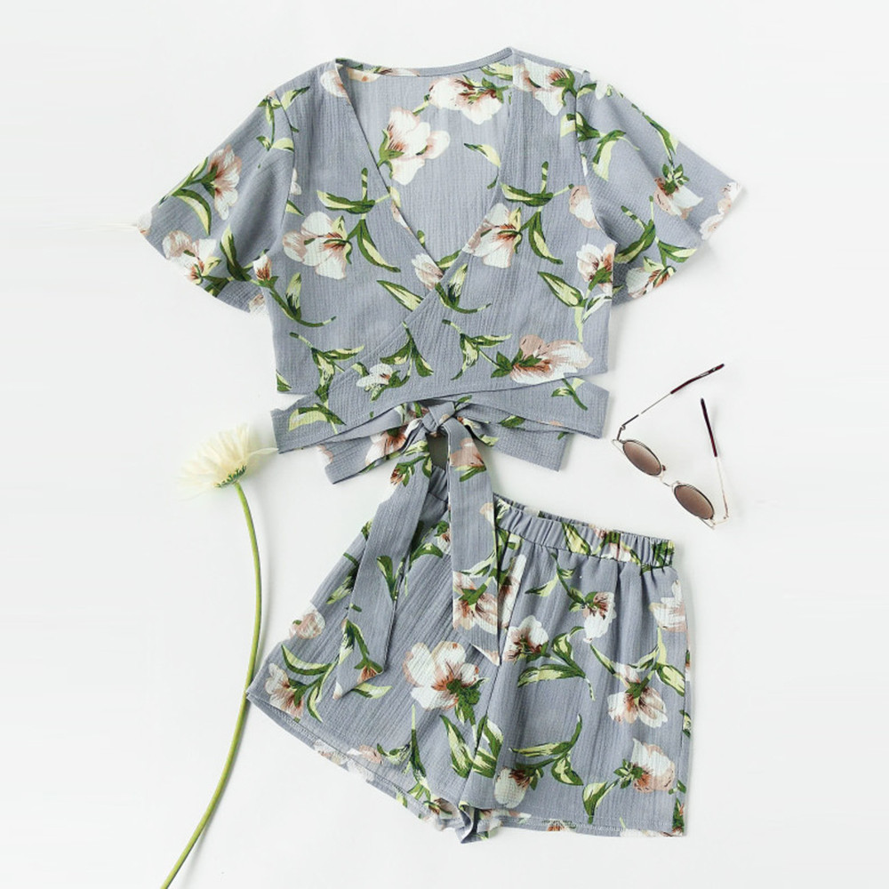 Feitong Summer Women Set Casual Two Piece Short Sleeve Floral Printed Suit Beachwear Cropped Tops Elastic Mini Shorts Sweet Suit
