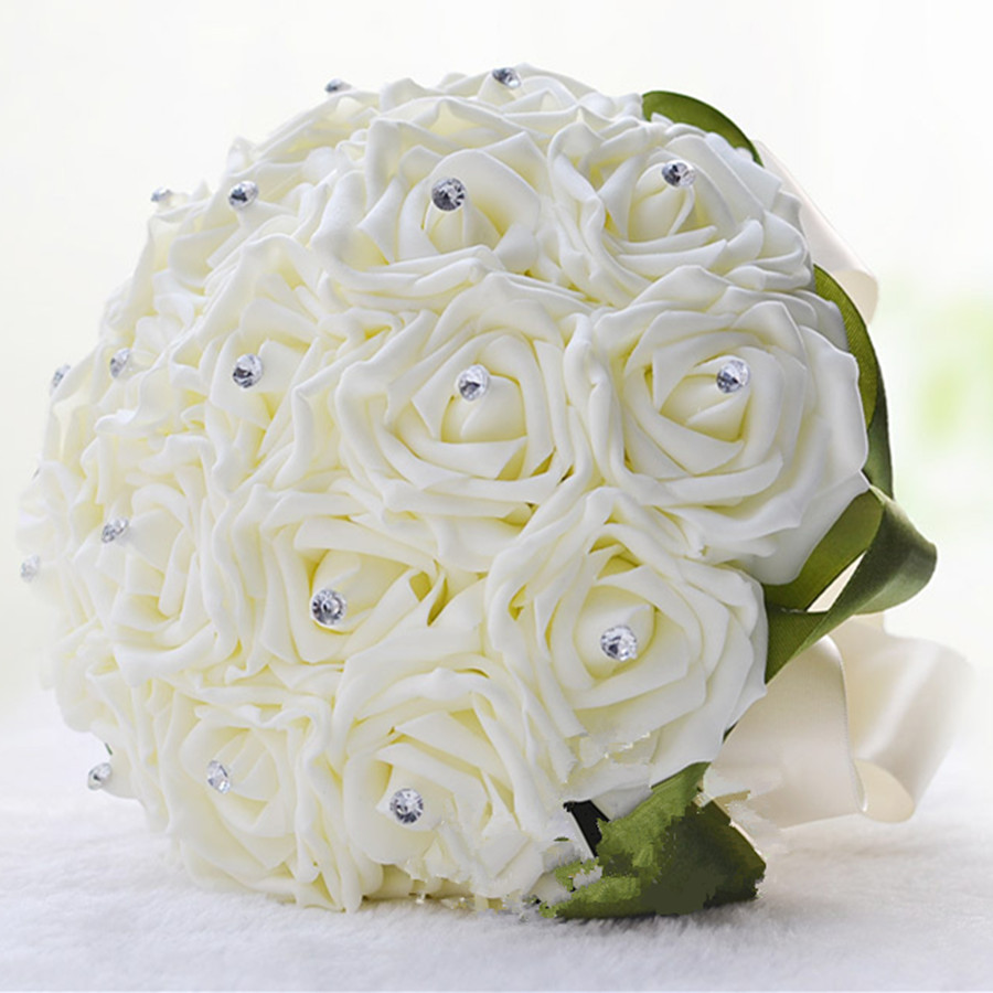 White Rose Folowers Diy Wedding Bride Artificial Foam Flower Bouquet