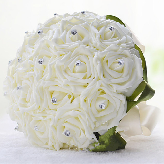 white rose folowers diy wedding bride artificial foam flower bouquet party birthday home decoration valentines gift