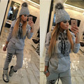 2016 Women Autumn Winter Fashion Casual Long Sleeve Letter Printed Hooded Tracksuit Two Piece Sets Thick Suit With Pocket