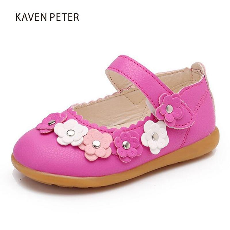 2017 Niños Moda Princesa Zapatos Planos niñas fiesta de baile de bebé Zapatos PU superior verano flores calzado ortopédico infantil