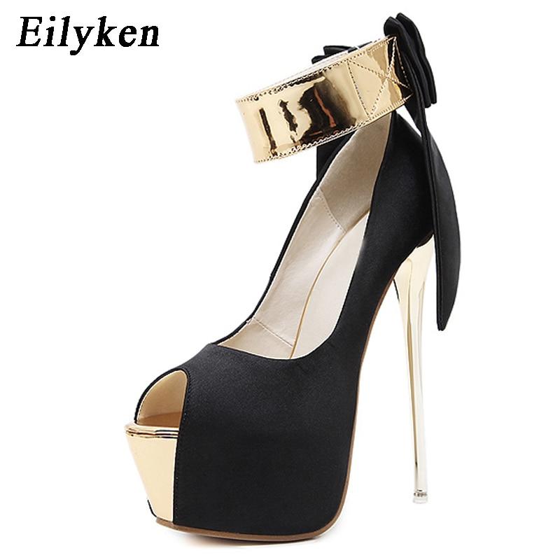 Eilyken Sexy Black Silk Heels Women Fetish Pumps Shoes Women Very Platform High Heels Strip Club High Heels 16 cm High quality