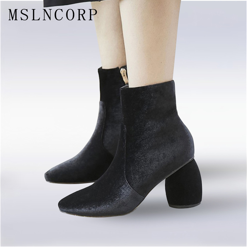 Plus Size 34-43 New Fashion Women Ankle Boots Spring Autumn Shoes Woman Dress Martin Boots Flock Suede Leather Winter Snow Boots
