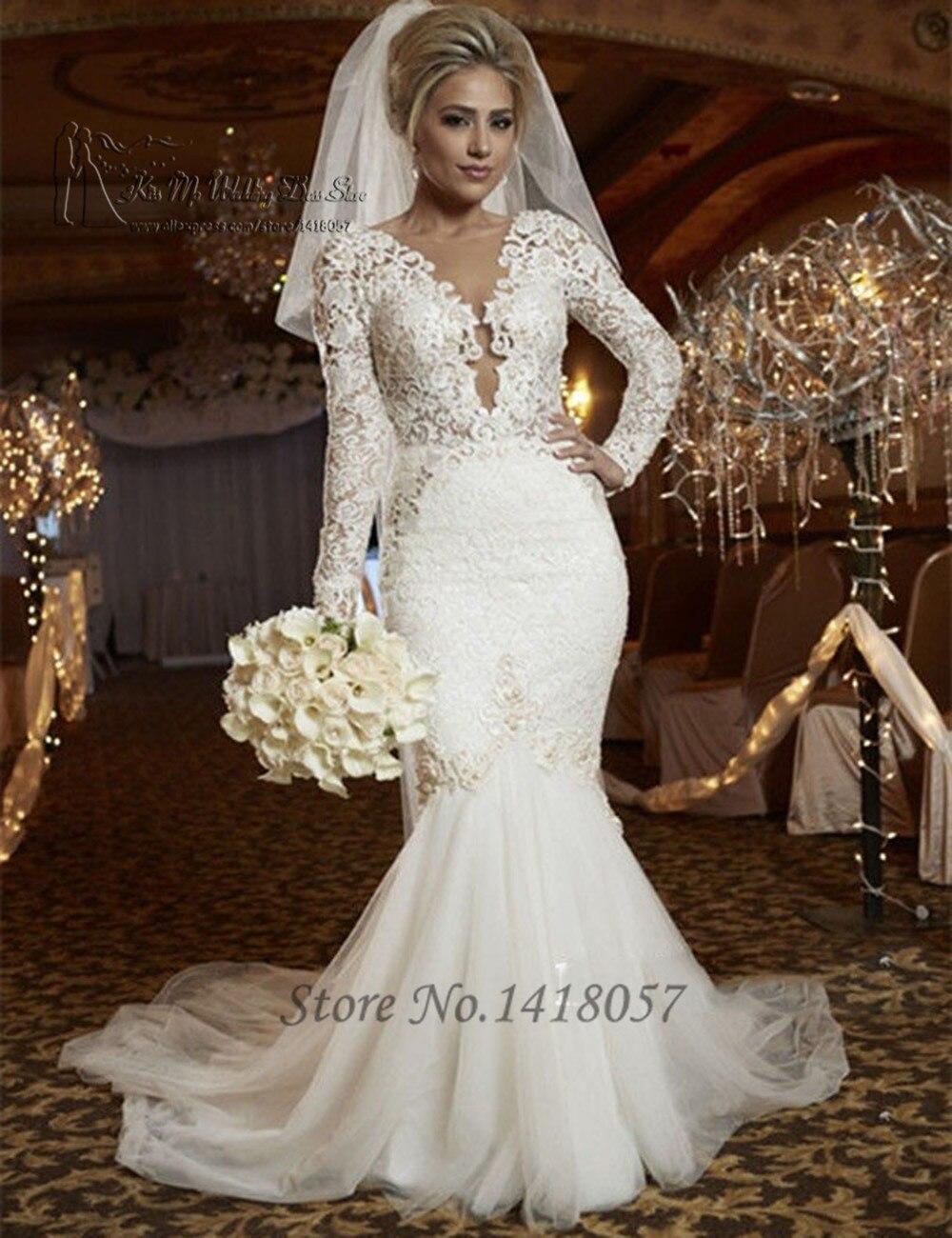 Popular Mermaid Wedding Dresses Long Sleeve-Buy Cheap Mermaid ...