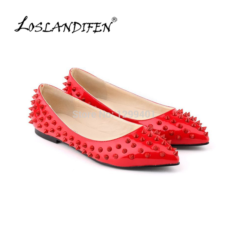 LOSLANDIFEN Womens Ladies Luxury Sexy Pointed Toe Faux Leather Patent Flats Dolly Ballet Rivets Court Shoes 020-3PA pu pointed toe flats with eyelet strap