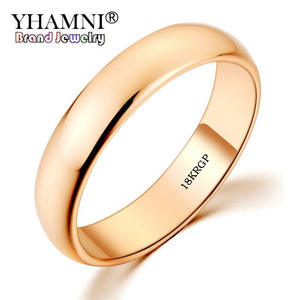 YHAMNI Gold-Ring Stamp Wedding-Jewelry Women Solid Real Original for And/Men/Sj050 5mm