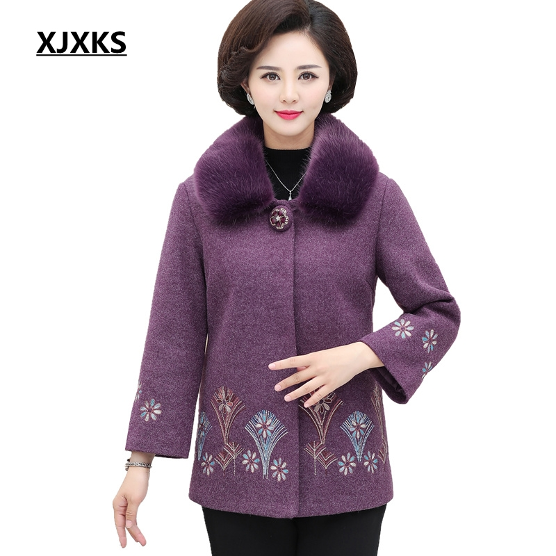 XJXKS 2019 New Vintage Coats Women Wool Plus Size Faux Fur Collar Woolen Coat Autumn Winter