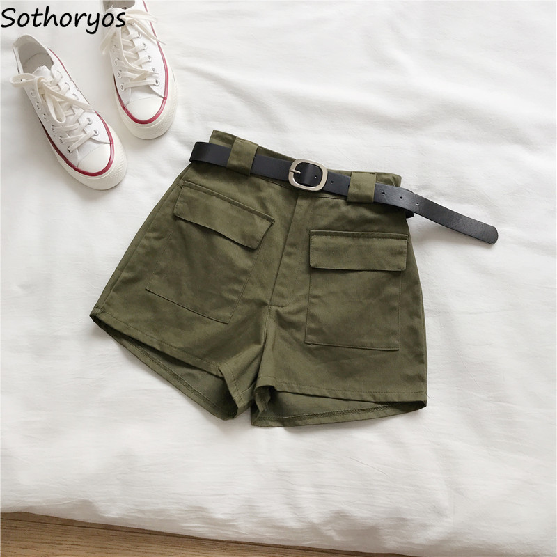 Shorts Women Trendy New All-match Short Simple Summer Harajuku Ulzzang Retro High-quality Loose Solid Womens Comfortable Sashes