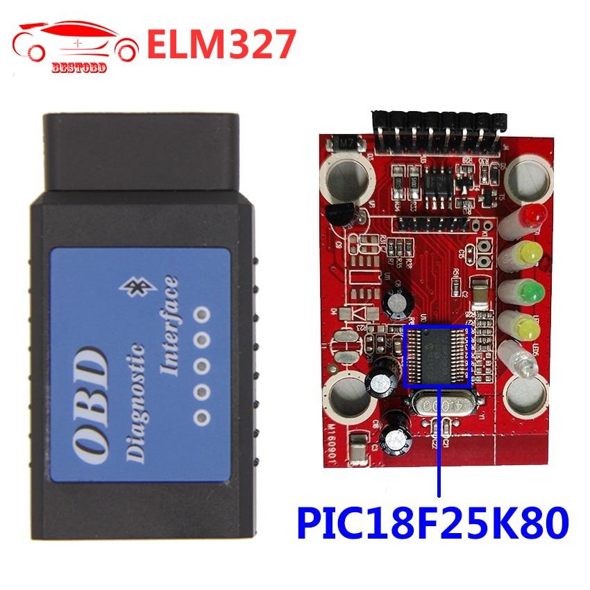 Prix pour V1.5 ELM327 Bluetooth avec PIC18F25K80 OBDII OBD2 Voiture Diagnostic Scanner Prend En Charge J1850 Protocoles
