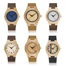 Solid Wood Watch for Men Wristwatches Minimalist Design Original Men Wooden Bamboo Watch Engrave Male Wrist Clock Montre Homme