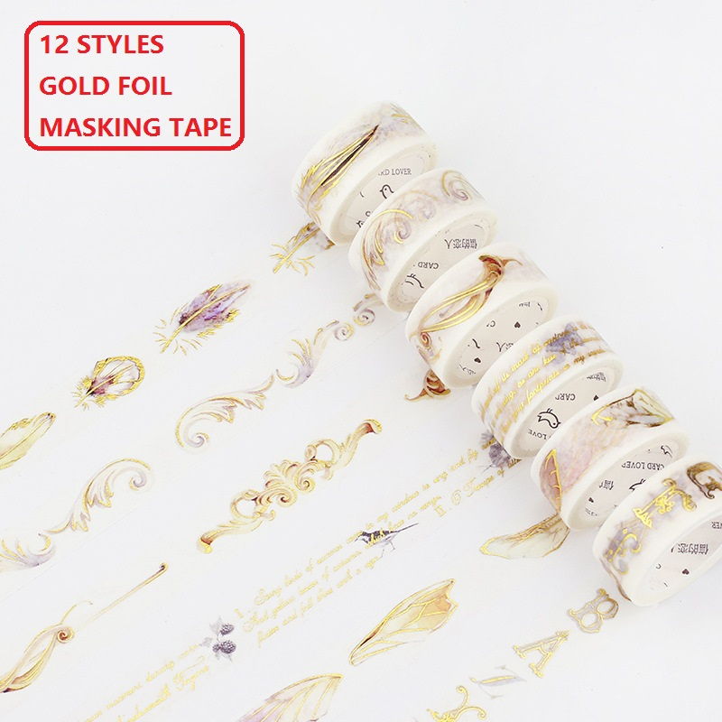 12 Styles Gold Foil Printing Rose Girls Perfume Frame Japanese Washi Tape Decorative Adhesive Masking Paper Tape DIY Craft Gift