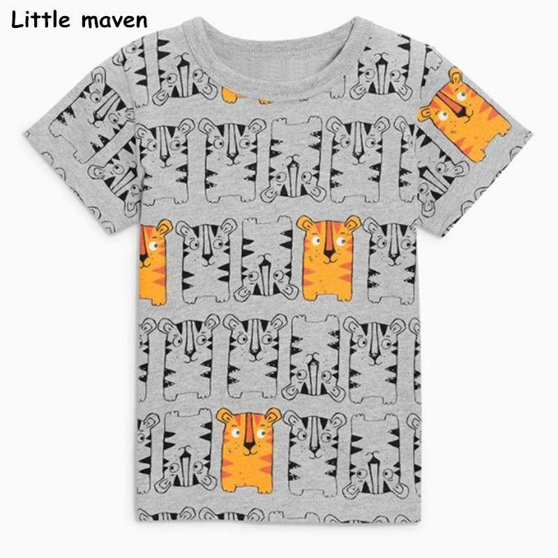 Little maven children clothes 2018 summer baby boys clothes short sleeve tee tops tiger print Cotton brand gray t shirt 51027 trendy men s round neck geometric print short sleeve t shirt