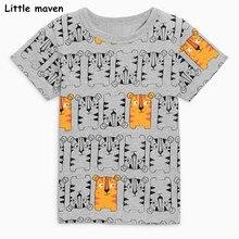 Little maven kinderkleding 2018 zomer babyjongens kleding korte mouw tee tops tijgerprint Katoenen merk grijs t-shirt 51027