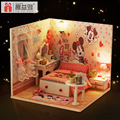 M001 Diy Wooden Miniature Doll House Furniture Toy Miniatura Mickey Bedroom Model Handmade Dollhouse