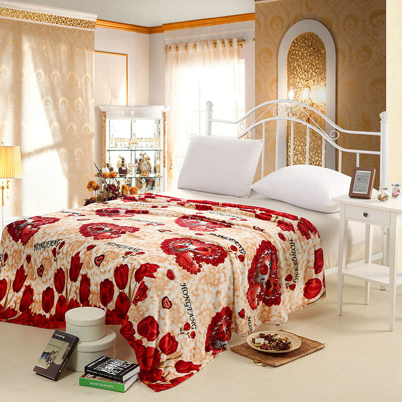 Tulip print floral style air conditioning blanket flannel for Beds 120 x 200