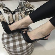Women Stiletto Thin Iron High Heel Sandals Sexy Sling Back Peep Toe Black Satin Party Bridal Ball Lady Shoe 3845-g8
