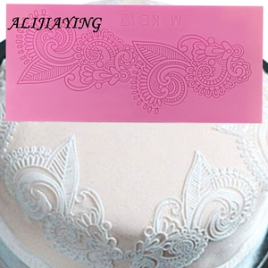 Image 1 - Flower Shape Cake Silicone Mat Sugarcraft Fondant Cake border Decorating Tools Kitchen Baking Silicone Lace Molds D0248