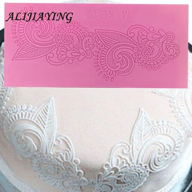 Flower Shape Cake Silicone Mat Sugarcraft Fondant Cake border Decorating Tools Kitchen Baking Silicone Lace Molds D0248