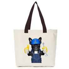 Original  oem custom tote men bag cool dog canvas customize eco bags diy logo foldable shopping with