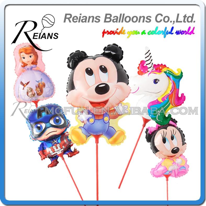 Mickey Minnie Mouse Pig Dog Sofia princes Doraemon Balloon With Stick Birthday Party Aluminium Foil Ballons Globos winnie the pooh iphone case